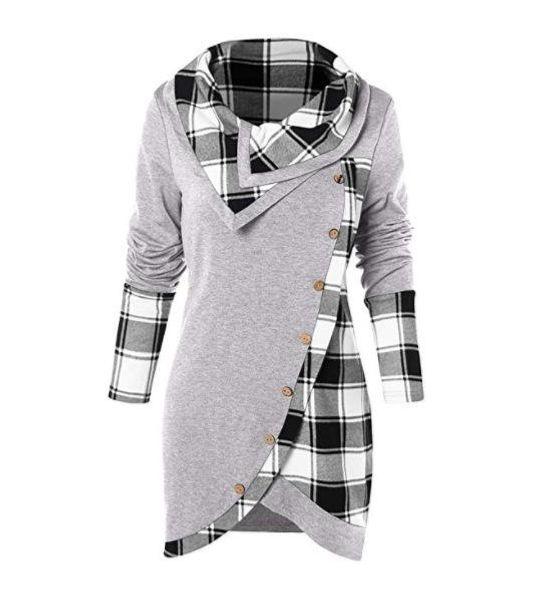 Skew Button Plaid Spliced Tulip Front T-shirt Women Casual Skew Collar Long Sleeve T shirt Ladies Clothes 10colors MMA1348 30pcs