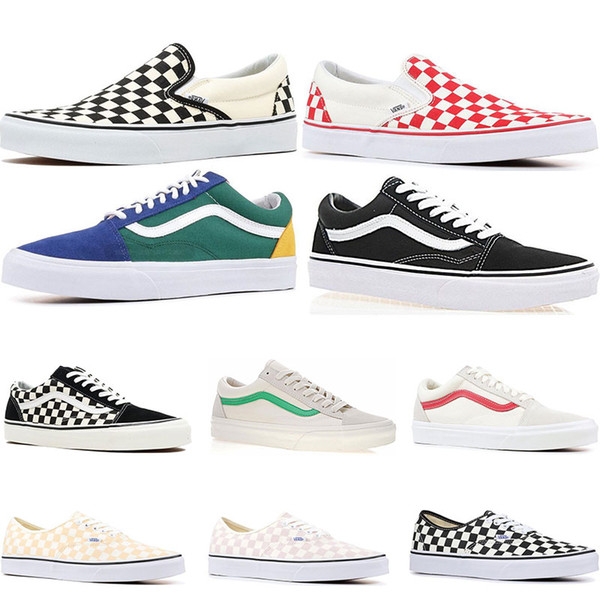 2019 Original Vans Old Skool Sk8 Hi Mens Womens Canvas Sneakers Black White Red YACHT CLUB Strawberry Fashion Skate Casual Shoes Size 36 44 Fashion