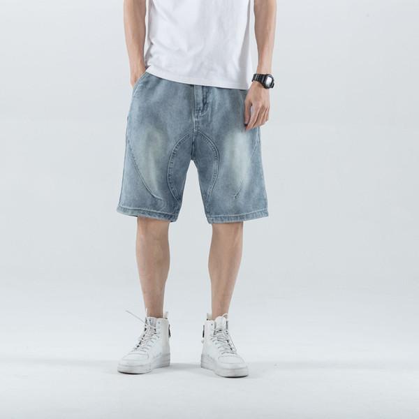 Yeni erkek Gevşek Düz Düz Renk Kot Eğilim Yakışıklı Büyük Artı Boyutu Beş Kot Pantolon Erkekler için Hip Hop Streetwear Kot Kısa