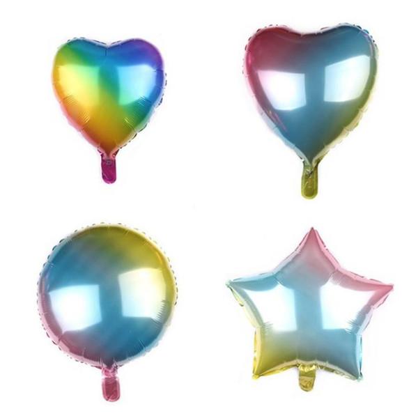 Neue stil Schrittweise Farbe Ballon Regenbogen Ballon Liebe Ballons fünfzackigen stern Ballons Geburtstagsfeier ballute T6I6022