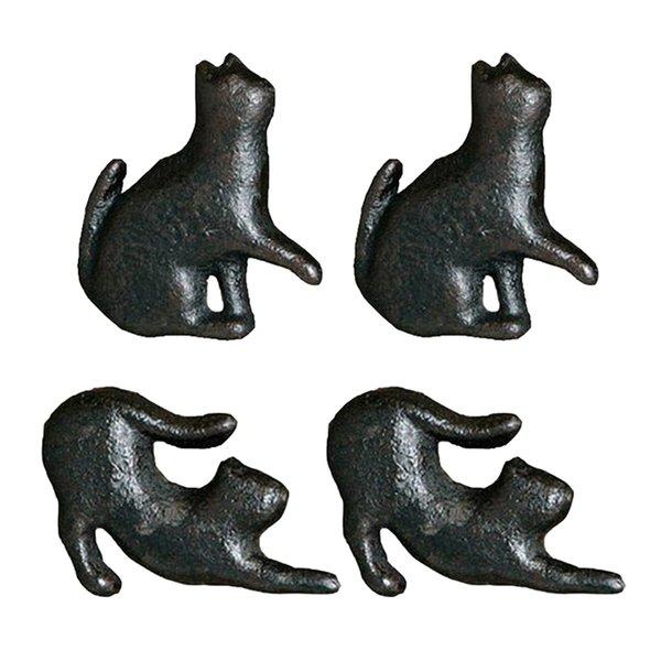 best selling 4pcs Creative Cat Design Cupboard Drawer Knob Kitchen Cabinet Door Pull Wardrobe Cast Iron Handles Kids Dresser Knobs