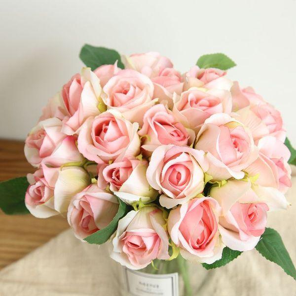 11 шт. / Букет искусственные розовые цветы настоящее прикосновение латексные цветы свадебный букет Цветочные Поддельные Цветы Организовать Стол Дейзи Свадебный Декор MW47234