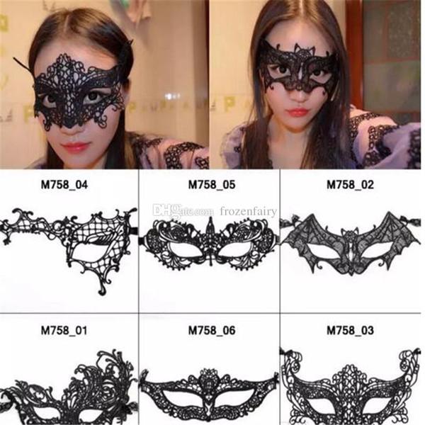 Maschera di pizzo farfalla nera Maschera da festa per animali sexy Maschera per il viso affascinante affascinante per la regina del partito 2017 aa296-303