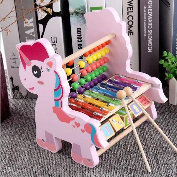 Brinquedos de madeira Multifuncional oitava percussão calculadora Brinquedos educativos para crianças Brinquedos de pancada Caixa de oito tons Brinquedo Cognitivo Digital