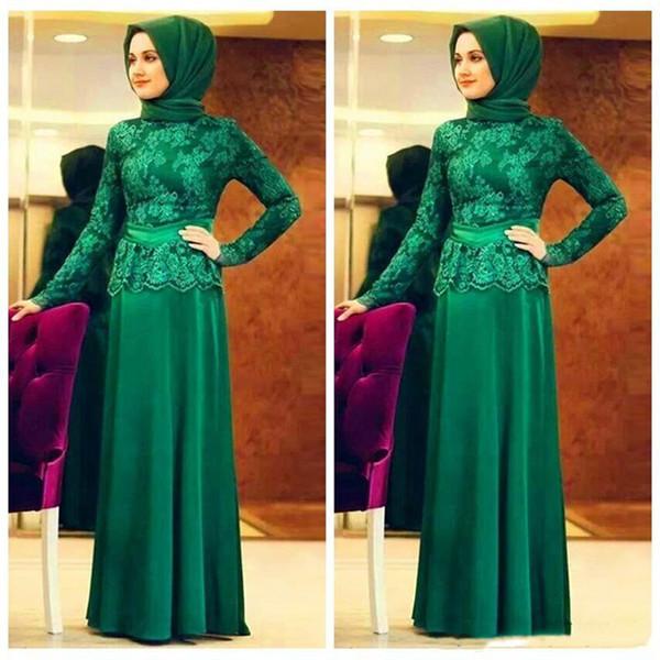 Modest Hunter Green Arabia Saudita Madre musulmana de los vestidos de novia Manga larga Encaje Aplique Longitud del piso Vestido de novia Invitado Vestido de noche