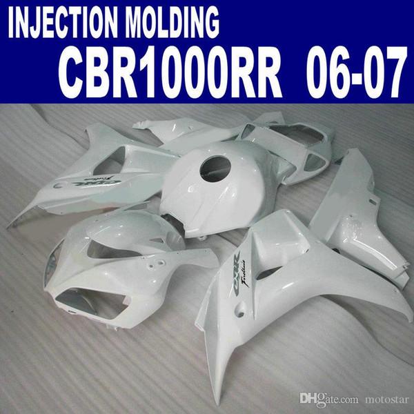 Carenados de moldes de inyección de alta calidad para HONDA 2006 2007 CBR1000RR 06 07 CBR 1000 RR todo el kit de carenado de plástico 155 blanco CP44