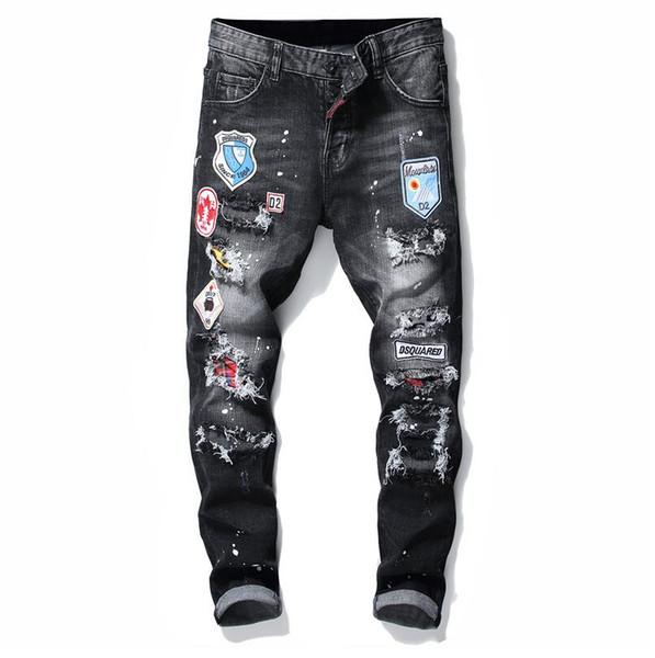 top popular 2019 Mens Badge Rips Stretch Black Jeans Fashion Designer Slim Fit Washed Motocycle Denim Pants Panelled Hip HOP Trousers 10200 2019