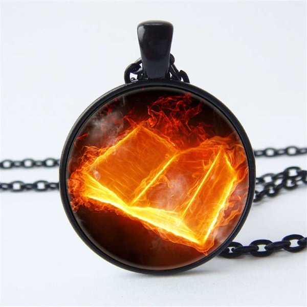 Book pattern pendant necklace convex round glass pendant book photo exquisite accessories gift for book lovers