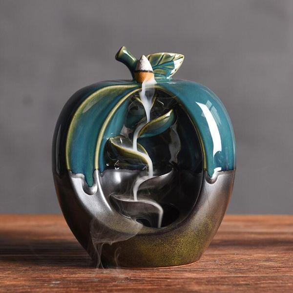 Handmade Ceramic Lotus Backflow Incense Ceramic Back Flow Incense Burners Holder Censer Aromatherapy Smoke Backflow Bullet Incense Holders