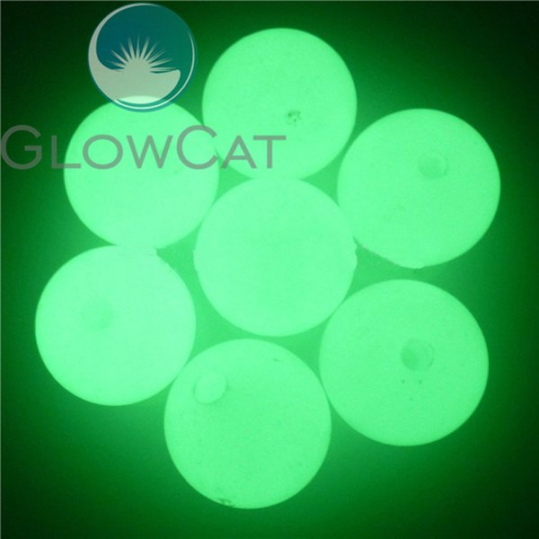 100PCS 18mm Round Luminous Beads Blue Green Glow In The Dark Noctilucent Lure Floating Acrylic Loose Beads with Hole