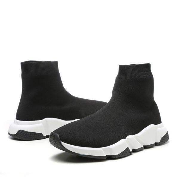 2019 Luxury Speed Trainer Black Knit Высокие носки Спортивная обувь, тройные черные плоские модные носки, с коробкой Size36-48