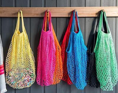 1PC Portable Reusable Drawstring Shopping Grocery Cotton Storage Bag Hand Tote Net Mesh Net Woven String Ecology Market Handbag