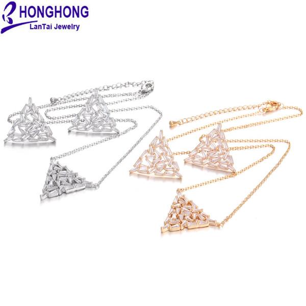 HONGHONG Yüksek Kaliteli Üçgen şekil Küpe Kolye Setleri için moda zirkonya Küpe kolye setleri weddingparty