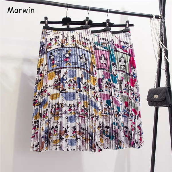 Marwin New-coming Sommer Catroon Printing Damen Röcke Mid-Wade Faltenrock European High Street Style Empire Sommer Röcke J190626