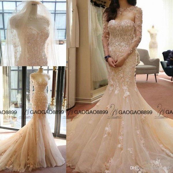 best selling Elegant blush Champagne Mermaid Wedding Dresses with Long Sleeve Cape Handmade Flower Country Bridal Gown with Lace Appliques 3D Floral