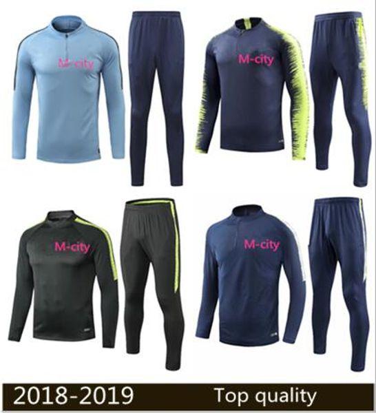DE BYUYNE MAN City zipper Training suit TRACKSUIT soccer Jacket 18 19 thai quality blue DE BYUYNE KUN AGUERO FULL ZIPPER football Jacket