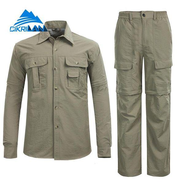 Hot Camping Climbing Fishing Clothing Suit Men Lightweight Trekking Anti-uv Sunscreen Quick Dry Hiking Outdoor Shirt Pants Sets