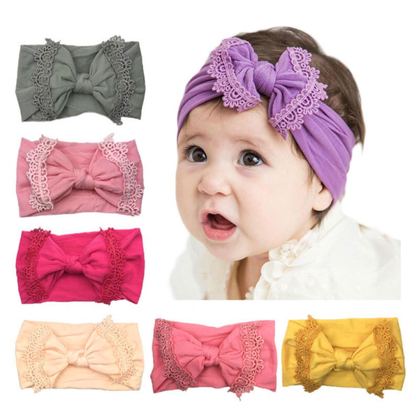 new kids Hair band bows Lace Trim Knot Baby Headdress clothing accessories Girls children Head Bands Infants cute kids Hair Hair Accessories