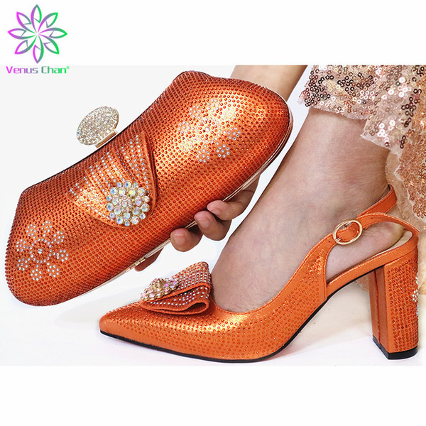 2019 Fashion New Orange Color Women Wedding Shoes With