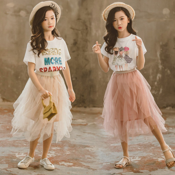 Big Girls princess outfits summer kids sequins letter embroidery short sleeve T-shirt+irregular lace falbala tulle skirt fit 3-12T F7165