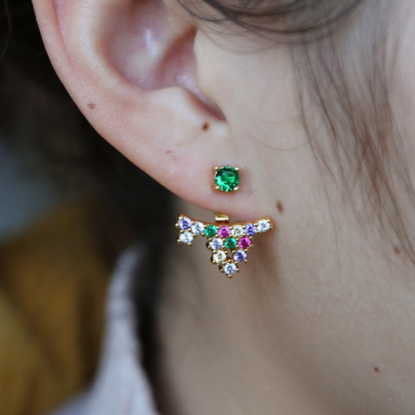 gold plated rainbow cz earring fashion double sided jacket for women gorgeous 2019 hot new design