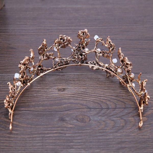 Bride Headdress Baroque Leaf Crown Hair Hoop Headwear Hairband Delicate Hair Accessories Tiara Hoop Comb Accessories