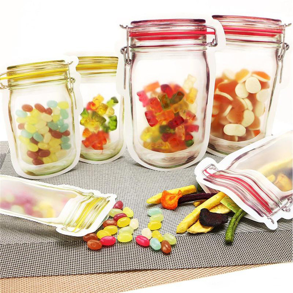 Reutilizáveis armazenamento de alimentos Zipper sacos Mason Jar Shaped Snacks vedação hermética Food Saver estanques Bags Cozinha Organizador Bags XD22297