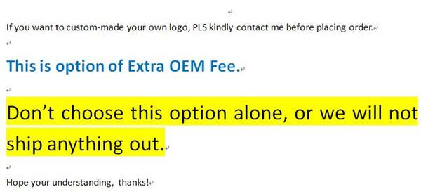 OEM Service, pls contact seller