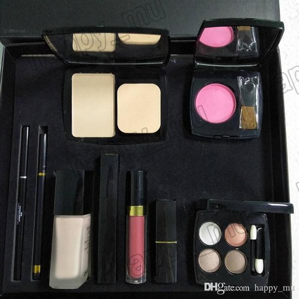 top popular C brand 9 piece set Foundation powder Blush with brush Liquid foundation lipstick lipgloss eyeshadow palette eyeliner 9 in 1 set 2021