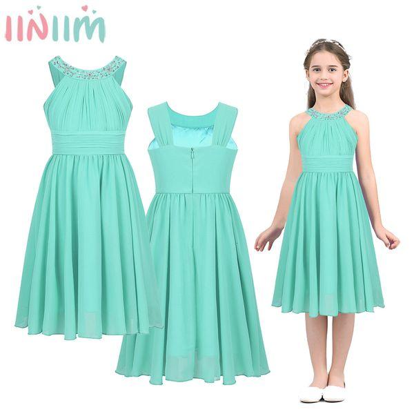 iiniim Girls Costumes Chiffon Dress Flower Shaped Rhinestone Halter Neck for Kids Teen Weeding Party Vestidos Princess Dress SH190908