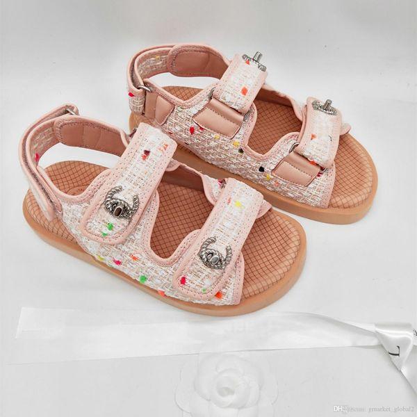 Nuevas sandalias de mujer Tweed Lambskin Fashion Luxury Designer Sandalia plana Zapatos de hebilla de metal Sandalias para mujer con caja Tamaño 35-40
