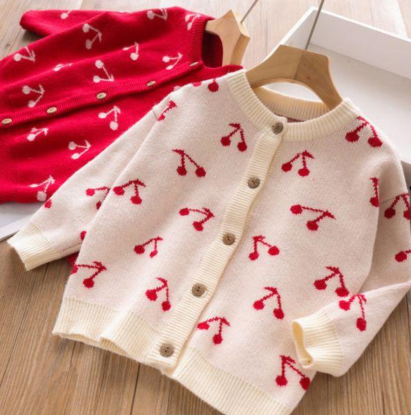 Girls cardigan kids cherry pattern knitted soft sweater tops children long sleeve princess outwear 2019 autumn new girl clothes F8422