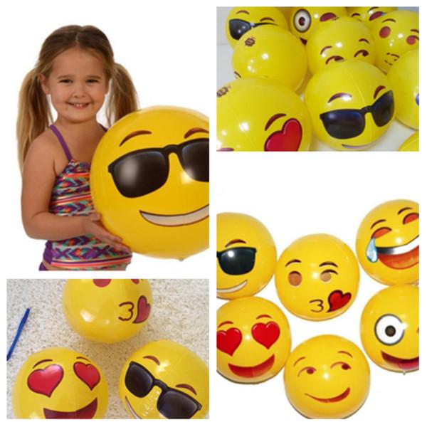 Sıcak 30 cm Emoji Yüz Plaj Topları Şişme oyuncaklar Yuvarlak Su Oynamak için Havuz PVC Oyuncaklar Parti tedarik Çocuk Hediye Plaj oyuncak T2G5039