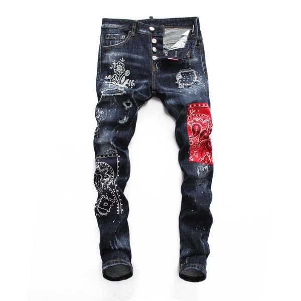 European Nightclub style  jeans  Men straight denim trousers Patchwork Slim blue jeans Pencil Pants for men