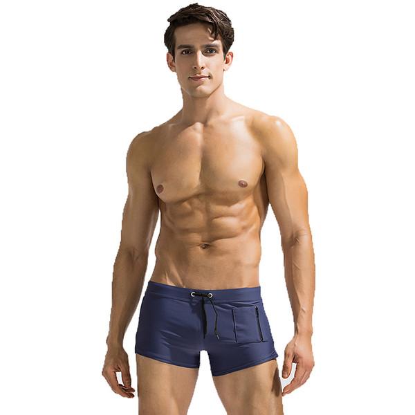 385748978e7 Nice Fitting Trunks Mens Swim Trunks Short Square Leg Cut Swimming Briefs  Swimwear with Front Zipper Pocket