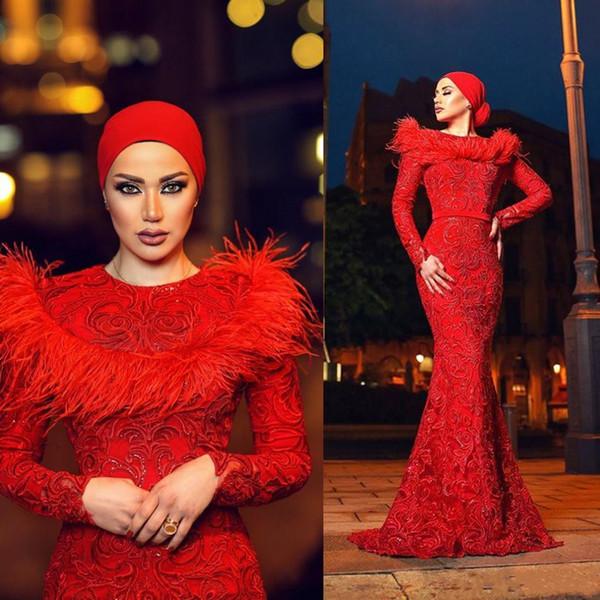 Zuhair Murad abiti da sera rossi gioiello collo maniche lunghe abiti da ballo sirena 2019 nuovo vestito arabo con perline appliqued plus size