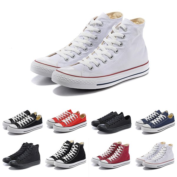 New arrival White Black Low High quality Brand cut Lace canvas casual shoes blue orange high low mens women Sneakers trainers 36-44
