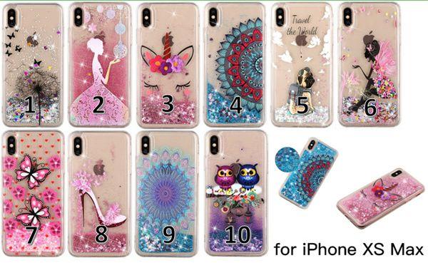 Colorido suave pintado TPU Glitter Liquid Quicksand Funda para teléfono para iPhone X XR XS Max 6 7 8 Plus y Samsung Galaxy S10 S9 S8 Plus S7 S6 Edge