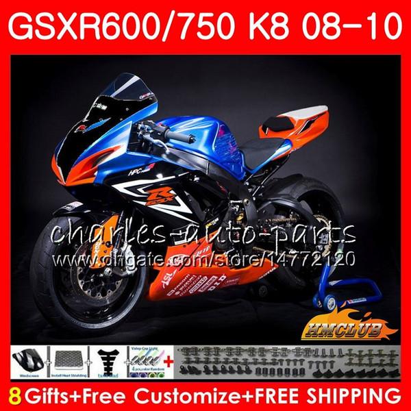 Race orange neue Karosserie Für SUZUKI GSX-R600 GSXR-750 GSXR600 2008 2009 2010 9HC.61 GSXR750 GSXR750 R600 K8 GSXR 600 750 08 09 10 Verkleidungen
