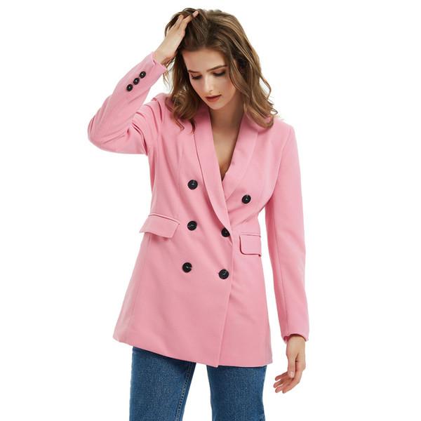 Classical Solid Color Suit Jacket Women Fashion Long Sleeve Suits Coat Women Elegant Tailored Collar Jacket Suits Female Ladies