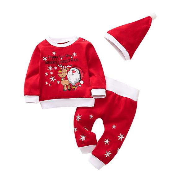 Yenidoğan Noel Bebek Boys Küçük Kardeş Noel Baba giyim Kazak Pantolon set Şapka Pijama Kıyafetler Seti takım LJJA3367-13