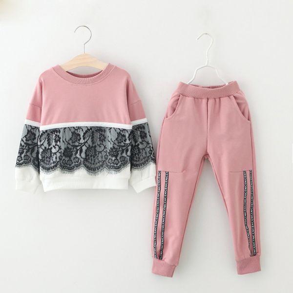 Kızlar Giyim Setleri Yeni Sonbahar Aktif kız giyim L Çocuk Giyim Karikatür Baskı Tişörtü + Pantolon Takım 3-7Y