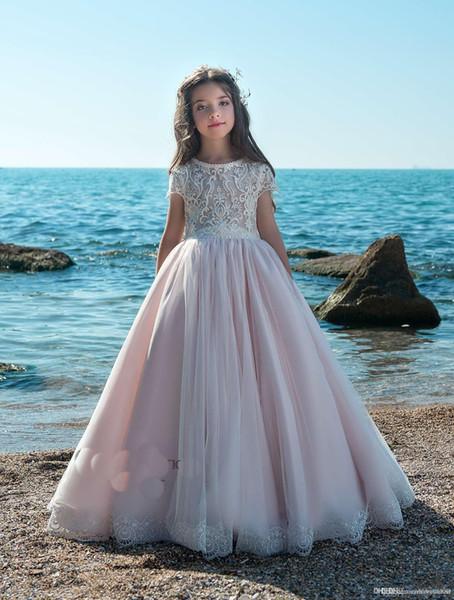 2019 Tüll niedlich hohe Taille schlanke Mädchen Blumenkleid Weihnachten Ballkleid Mädchen Kinder formelle Kleidung bodenlangen Princess Girl Dresses