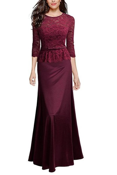 Burgundy Women Party Dress Vintage Half Sleeves Ankle Length Lace Top Crew Neck Trumpet Formal Evening Dresses For Women Australia 2020 From