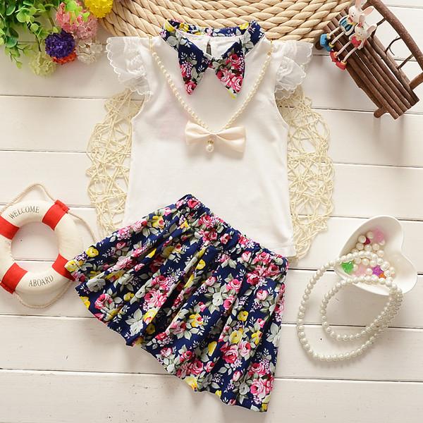 été bébé fille vêtements Top + robe 2pcs costume de sport mis bébé filles vêtements mis en bas âge fleur vêtements mis survêtement