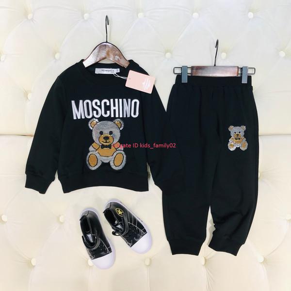 Детские брюки набор детская дизайнерская одежда медведь шаблон рубашка + сплошной цвет повседневные брюки 2шт осень хлопок набор мальчиков и девочек