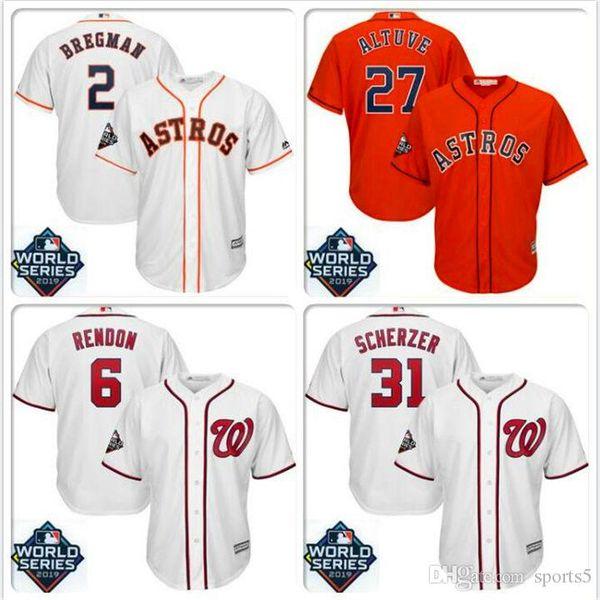 Mens Jose Altuve Houston Astros Jersey Alex Bregman Max Scherzer Trea Turner cucita 2019 pullover di baseball basso freddo Bound World Series del DHL