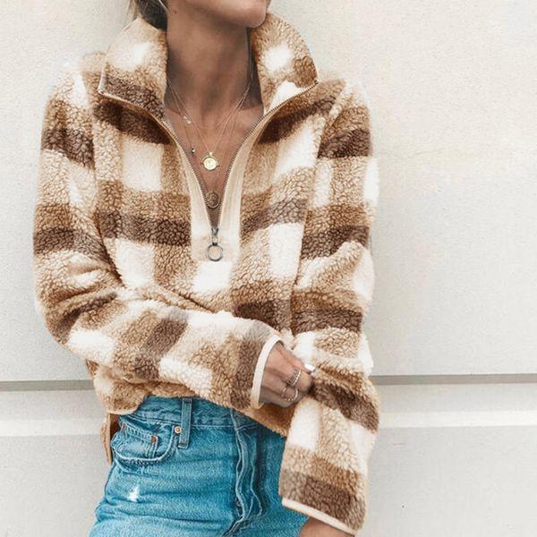 Women Plaid Hoodies Sherpa Fleece Sweatshirt Zipper Turtleneck Pullover Sweater Autumn Winter Hoodie Sweatshirts Fashion Plush Jacket Tops