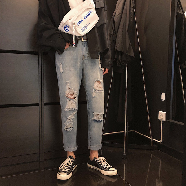 Korean Street Style Jeans New Fashion Nine Point Jeans Trend Broken Hole Denim Pants Loose and Comfortable Wild