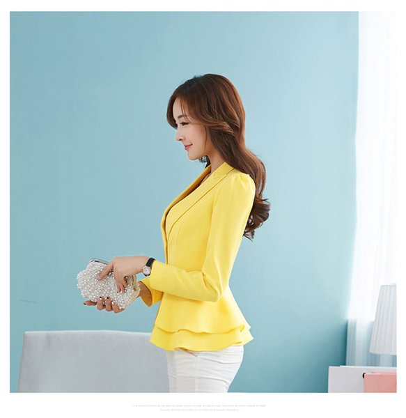 Small suit female candy color women's a grain of buckle long sleeve short jacket falbala big yards cultivate professional small suit